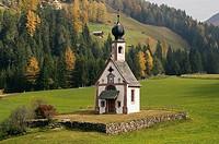 Church on a landscape, St. Johann Church, Santa Maddalena, Val di Funes, Dolomites, Trentino-Alto Adige, Italy