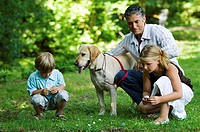 Mid adult man with his two children and a dog in a park