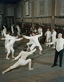 Group of people fencing