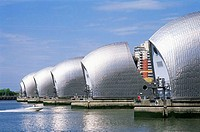 Flood barriers at the riverbank, Thames Barrier, London, England
