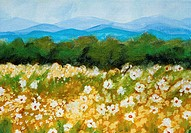 Daisies with Blue Mountains 2005 Hyacinth Manning (b.1954/African-American) Acrylic on Canvas