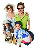 Elevated view of parents and two children (10-12) holding a beach ball and travel bag