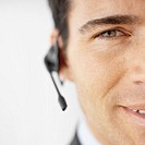 Front view portrait of businessman wearing headset
