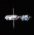 A satellite orbiting in space