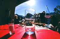 Close-up of a glass of water on a table in the sun