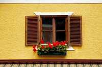 Window with flowers in Hallstatt. Austria. 2006