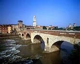 Ponte pietra bridge, Verona, Italy.