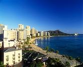 Waikiki & Diamond Head, Honolulu, Oahu, Hawaii, USA.
