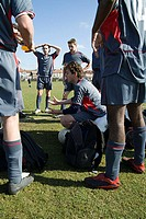 Footballers preparing for match
