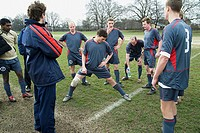 Footballers warming up