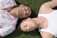 Gay couple sunbathing