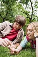 Teenagers relaxing in a park
