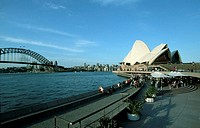 Sydney, Harbour Bridge, Sydney Cove and the Sydney Opera from south.