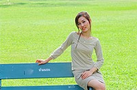 Thailand, Bangkok, Lumpini Park, Thai girl 'Jane' sitting on bench,  MR_0604-0004_Jan