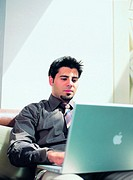 Arab businessman using laptop