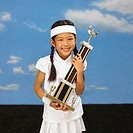Tennis Player with Trophy