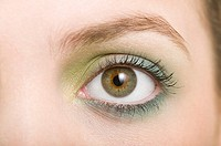 A woman wearing eyeshadow
