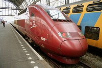 French Thalys (TGV) express train to Paris waiting in Amsterdam central station, Holland, Netherlands