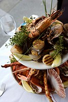 Platter with lobster, clams, scallops and crayfish