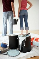 Couple painting their house together