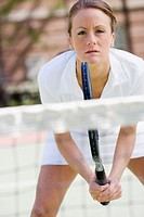 Tennis Player Awaiting Serve