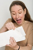 Woman Opening Happy Mail