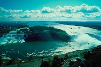 Aerial view of Niagra Falls at the border of New York and Canada.