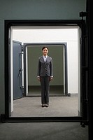 Businesswoman in Doorway