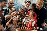 Close-up of a family celebrating Kwanzaa