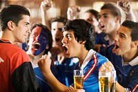 Group of Soccer Fans Cheering in Bar