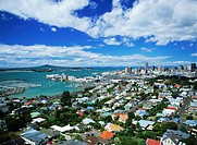 Overview of Ponsonby suburb with Auckland skyline