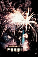 Brilliant fireworks bursting over the Lincoln Memorial and Washington Monument, George H W  Bush inauguration celebration, 1989