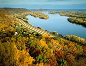 Aerial view of Great River Road along the Mississippi River with fall foliage  View from Great River Bluffs State Park overview