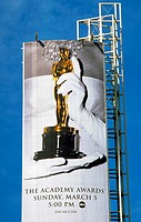 Vertical billboard advertising TV coverage of the Academy Awards ceremonies
