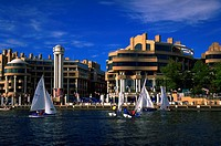 River view of the Washington Harbour development, with its exciting architecture and natural setting on the Potomac River in Washington, DC.  A popula...