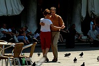 Young couple dancing, Venice, Veneto, Italy
