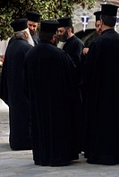 Group of priests having a discussion, Crete, Greece