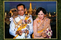 Close-up of a king and a queen, King Bhumibol, Queen Sirkit, Thailand