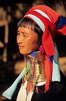 Burma (Myanmar), Kaungdine Village, Inle Lake, Padaung tribal woman with many neck rings, view from side.