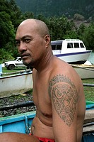 Tatooed man, Hanavave, Island of Fatu Hiva, Marquesas Islands, French Polynesia, (Editorial use only)