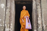 Buddhist monk. Prasat Preah Vihear, Cambodia. (Known as Khao Phra Wiharn in Thailand.) This series of temples was built by seven Khmer monarchs in the...