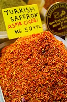 Turkish saffron at Egyptian bazaar, Istanbul. Turkey