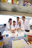 Inasmet-Tecnalia Foundation, Technology and Research Centre, San Sebastian Technological Park, Basque Country. Chemists with Petri dishes, microbiolog...