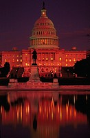 View of the West facade of the U.S. Capitol building at dusk, Washington, DC.