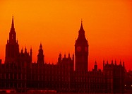 Sunrises over Parliament in London, England.