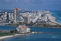 Aerial view of the hotels and buildings near the seashore of South Beach near Miami Beach, Florida.