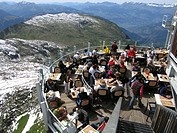 Restaurant with view of the Alps. Chamonix. France