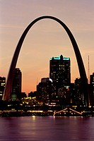Gateway Arch and Mississippi River, St. Louis, Missouri at night