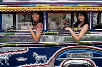 Girls in Jeepney taxi in Philippines