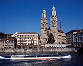 Limmat River, Grossmunster Cathedral, Zurich, Switzerland